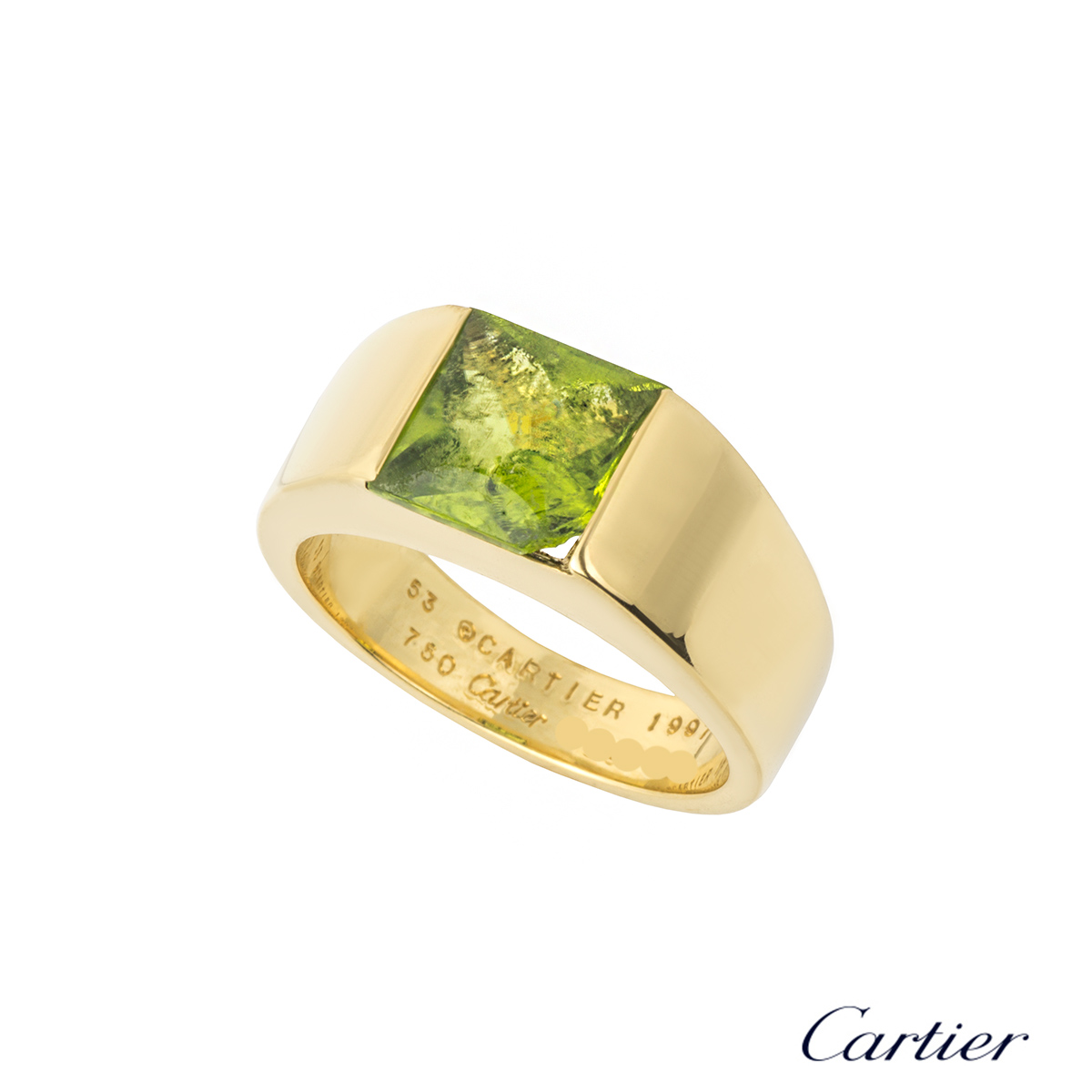 Cartier 18k Yellow Gold Peridot Tank Ring